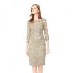 Tadashi Shoji Corded Embroidery On Tulle 3/4 Sleeve Dress Gold Size 22